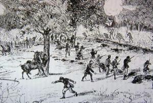 The Massachusetts 22nd, John Barker's regiment, at Gaines Mills.  (Source:  Parker, Henry Wilson's Regiment:  History of the 22nd Massachusetts Infantry)