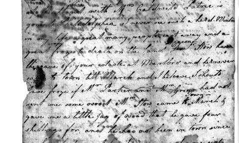 Daphney's letter to Christian Barnes, May 13, 1787 (Hingham Historical Society archives)