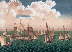The Betsey, surrounded by seven French corsairs.  Anonymous, 1797.  Courtesy of The Mariners' Museum, Newport News, VA.