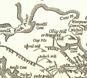 "Detail from D.A. Dwiggins' map of Hingham, ""The Old Place Names,"" 1935"