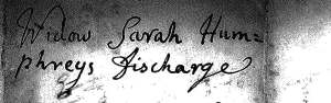 Title Widow Sarah Humphrey's Discharge
