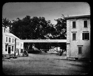 Hingham Square, looking south on Main Street, 1861.