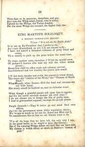 """""""King Martin's Soliloquy.""""  The Whigs chose the name of their party from that of the    18th century opponents of King George III."""