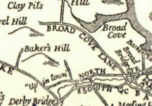 """Detail from a map of historical names and places in Hingham.  (""""Barker Shipyard"""" belonged to the sisters' uncle, Francis Barker.)"""