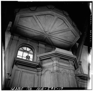 Pulpit in Old Ship Church (1941 photograph from Branzetti, Historic American Buildings Survey)