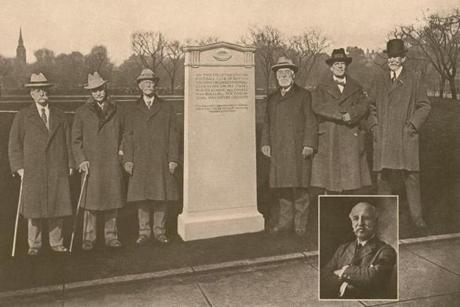 Oneida Football Club members at the dedication of the monument on Boston Common.  Lincoln's classmate, Gerrit S. Miller is immediately to the right of the monument.