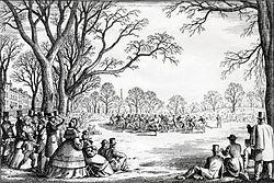 Artist's rendering of the Oneida Football Club in match play on Boston Common