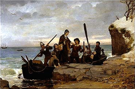 """The Landing of the Pilgrims"" (1877) by Henry A. Bacon"