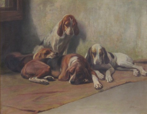 Sisters or Four Hounds, c. 1880. This work of animal portraiture is unusual for its nearly life-size depiction of a group of dogs rather than a single animal proudly posed to display its best features.