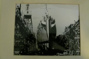 Launch of a destroyer Escort, Bethlehem-Hingham Shiphard, 1944 or 1945.  (Hingham Historical Society)