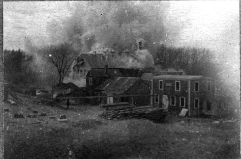 Fire at the Wilder Bucket Factory, Easter 1902. (Photo: Hingham Historical Society)