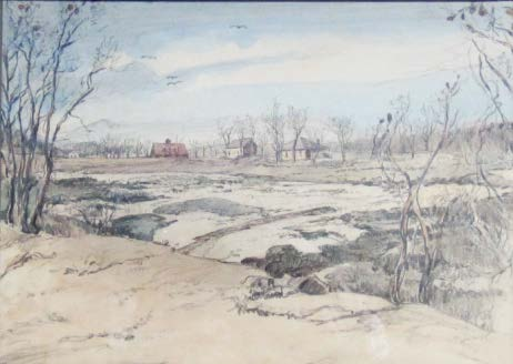 Huit's Cove, in watercolor and pencil, by Beatrice Ruyl, January 23, 1942.  Hingham Historical Society
