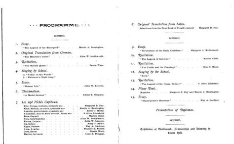 Order of Exercises, Derby Exhibition, 1892  (Hingham Historical Society)